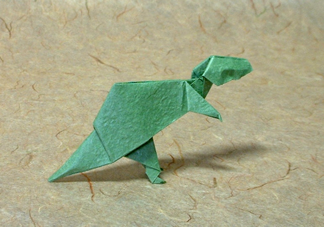 Origami Tyrannosaurus by John Montroll folded by Gilad Aharoni