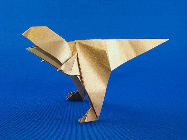 Origami Tyrannosaurus Rex by Roman Diaz Folded from a square of Nicolas Terry's tissue-foil by Gilad Aharoni on giladorigami.com