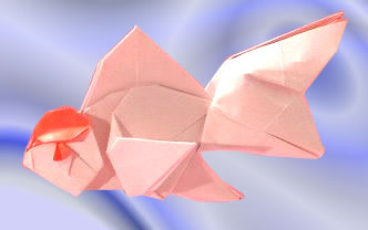 Origami Goldfish - Tancho Oranda (V. 2) by Ronald Koh Folded from a square of origami paper by Gilad Aharoni on giladorigami.com