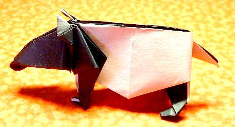 Origami Malayan tapir by Jun Maekawa Folded from a square of origami paper by Gilad Aharoni on giladorigami.com