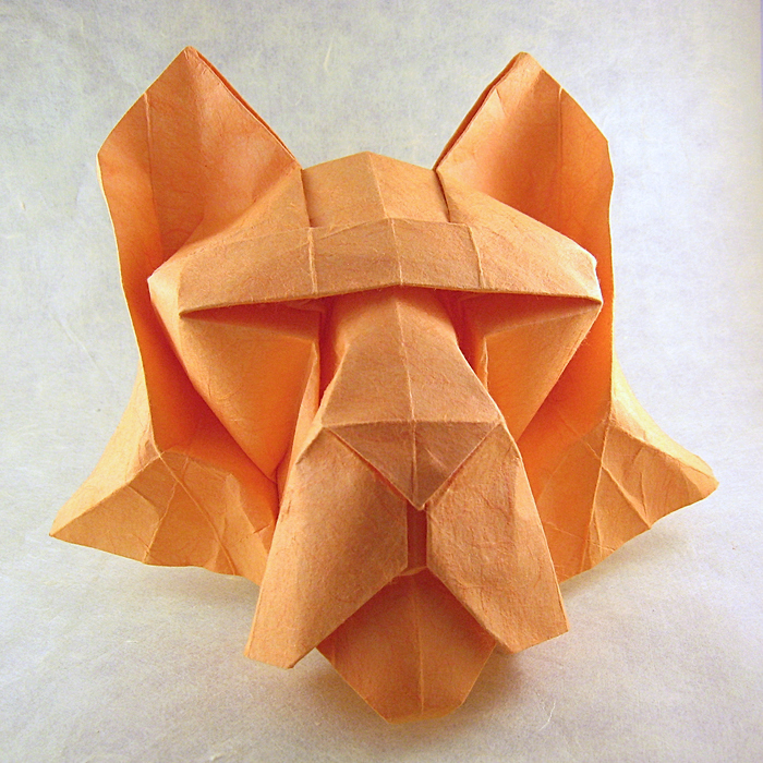 Origami Tiger's head by Roman Diaz Wet-folded from a square of double-sided mulberry paper by Gilad Aharoni on giladorigami.com