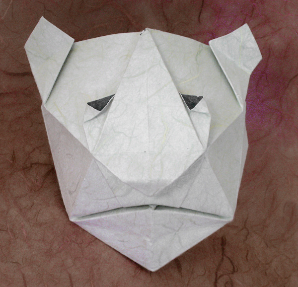 Origami Tiger mask by Jun Maekawa Folded from a square of double-sided mulberry by Gilad Aharoni on giladorigami.com