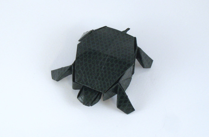 Origami Tortoise by Jun Maekawa Folded from a rectangle of scrap-booking paper by Gilad Aharoni on giladorigami.com