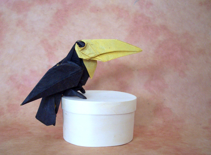 Origami Toucan by Michael G. LaFosse Folded from a square of duo unryu paper by Gilad Aharoni on giladorigami.com