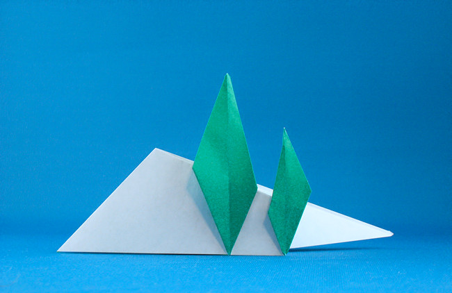 Origami Trees on a hillside by Eric Kenneway folded by Gilad Aharoni on giladorigami.com