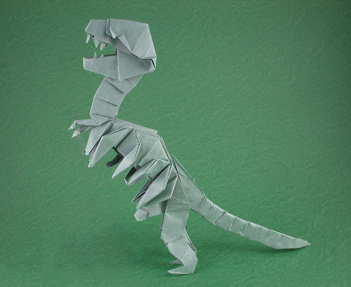 Origami Tyrannosaurus rex skeleton by Peter Budai Folded from 5 squares of Trimaco masking paper by Gilad Aharoni on giladorigami.com
