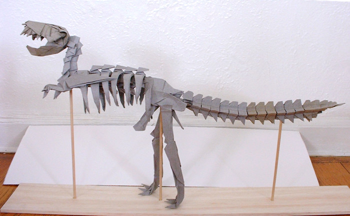 Origami Tyrannosaurus Rex skeleton by Issei Yoshino folded by Gilad Aharoni on giladorigami.com