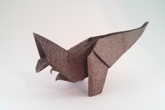 Origami Tyrannosaurus by Jozsef Zsebe Wet-folded from a square of textured art paper by Gilad Aharoni on giladorigami.com