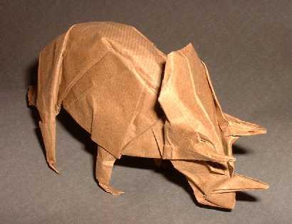 Origami Triceratops By Gabriel Alvarez Casanovas Folded Gilad Aharoni