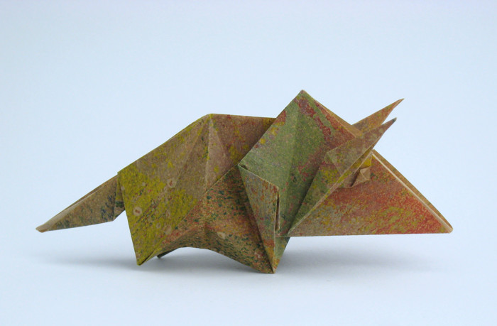 Origami Triceratops by Kunihiko Kasahara Folded from a square of origami paper by Gilad Aharoni on giladorigami.com