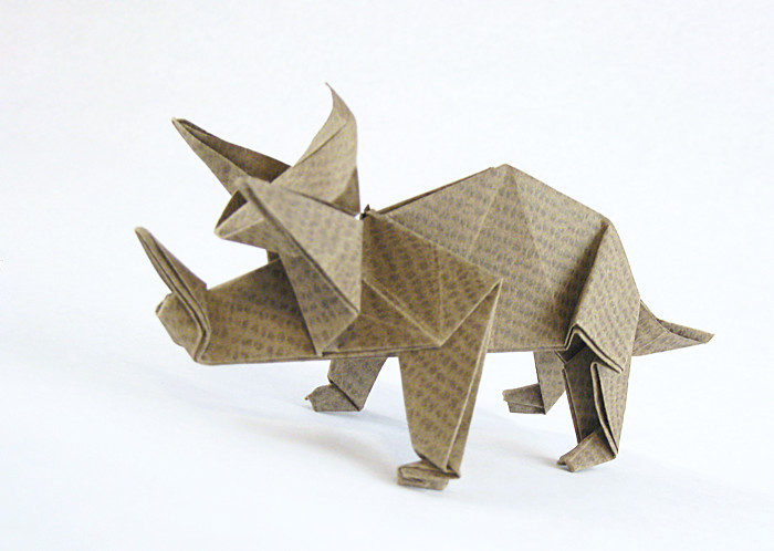 Origami Triceratops by Jun Maekawa Folded from a square of textured origami paper by Gilad Aharoni on giladorigami.com