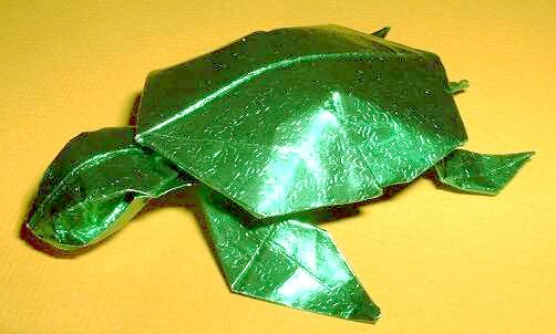 Origami Turtle by Juan Gimeno Folded from a rectangle of patterned foil by Gilad Aharoni on giladorigami.com