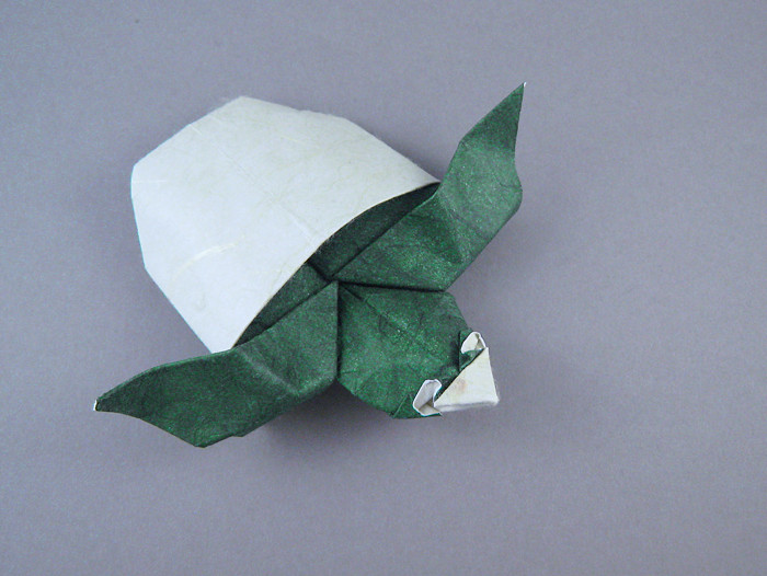 Origami Turtle baby by Seo Won Seon (Redpaper) Wet-folded from a square of double-sided mulberry paper by Gilad Aharoni on giladorigami.com