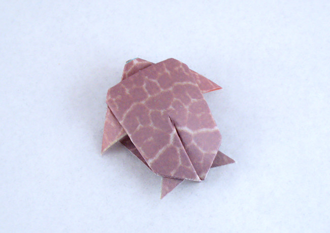 Origami Turtle by Kunihiko Kasahara Folded from a square of patterned origami paper by Gilad Aharoni on giladorigami.com
