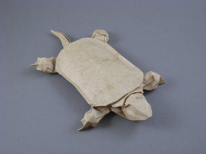 Origami Pond turtle by Michael G. LaFosse Wet-folded from a square of Elephant-hide by Gilad Aharoni on giladorigami.com