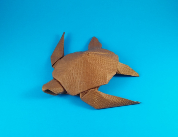 Origami Turtle by Akira Yoshizawa Folded from a square of shizen handmade paper by Gilad Aharoni on giladorigami.com
