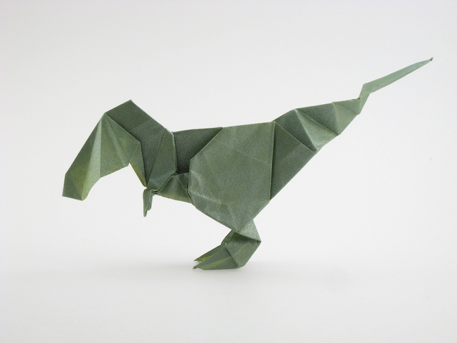 Origami Tyrannosaurus by Ryo Aoki Folded from a square of Nicolas Terry's tissue-foil by Gilad Aharoni on giladorigami.com
