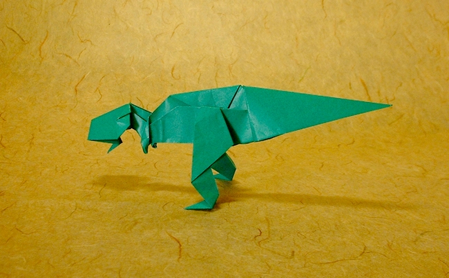 Origami Tyrannosaurus by Tetsuo Kimura Folded from a square of origami paper by Gilad Aharoni on www.giladorigami.com