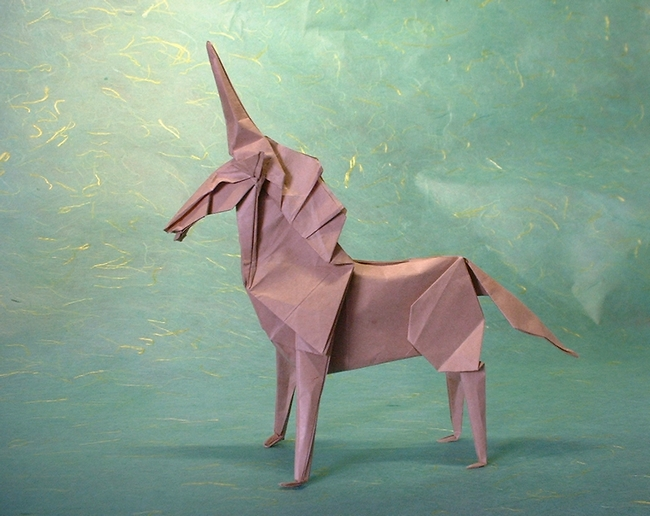 Origami Unicorn by Fumiaki Kawahata folded by Gilad Aharoni on giladorigami.com
