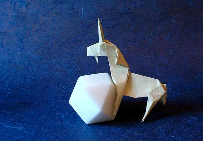 Origami Unicorn by John Montroll folded by Gilad Aharoni