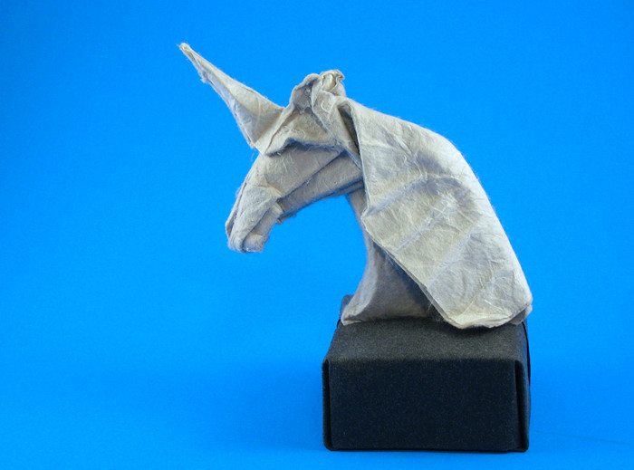 Origami Unicorn bust by Eileen Tan Base folded from a square of art paper by Gilad Aharoni on giladorigami.com