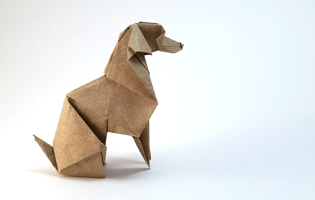 Origami Weimaraner by Roman Diaz folded by Gilad Aharoni on giladorigami.com