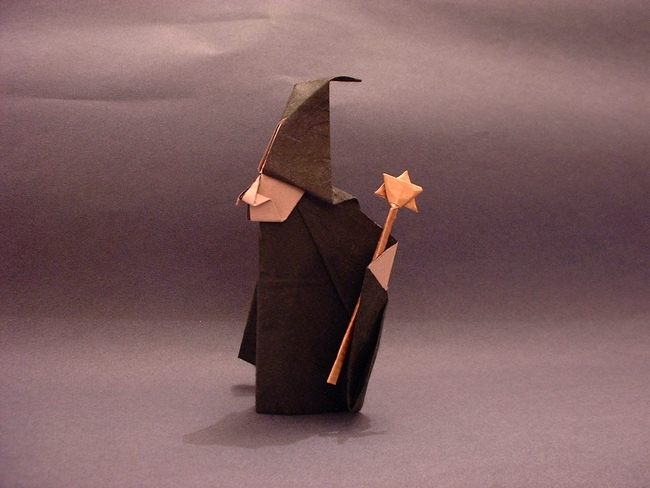 Origami Witch by Akira Yoshizawa and the wand from another rectangle by Gilad Aharoni on giladorigami.com
