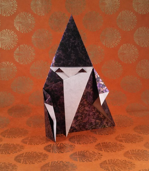 Origami Wizard by Hideo Komatsu Folded from a square of Urban Metal origami paper by Gilad Aharoni on giladorigami.com