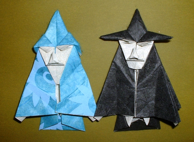 Origami Wizard And Witch By Robert Neale Folded Gilad Aharoni