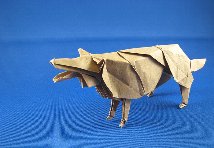 22 Square Origami Wolf By Hideo Komatsu Folded Gilad Aharoni On Giladorigami