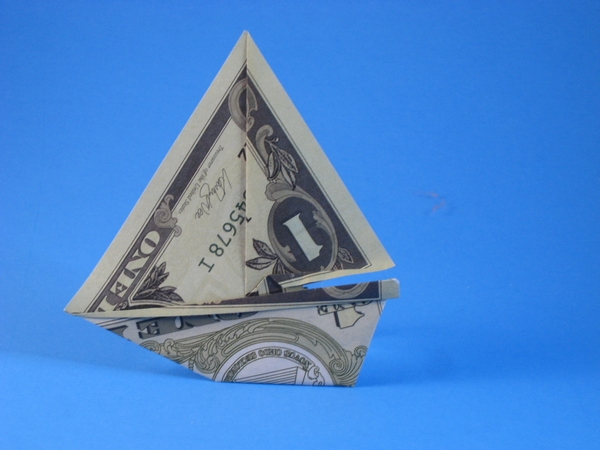 Origami Yacht by Michael G. LaFosse Folded from a toy dollar bill by Gilad Aharoni on giladorigami.com