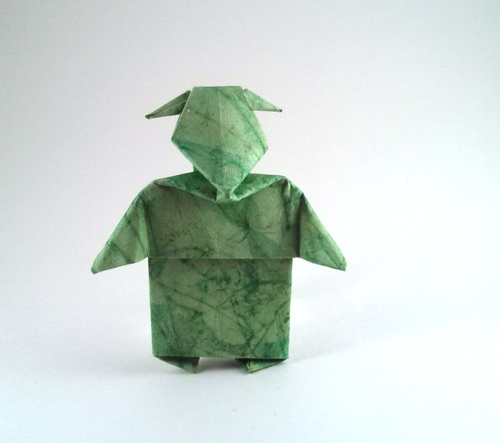 Origami Yoda by Chris Alexander Folded from a square of art paper by Gilad Aharoni on giladorigami.com