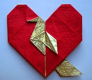 Origami Bird in a heart by Madiyar Amerkeshev on giladorigami.com