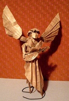 Origami Angel playing the lute by Fumiaki Kawahata on giladorigami.com