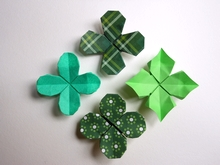 Origami 4 leaf clover by Viviane Berty on giladorigami.com