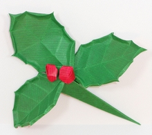 Origami Holly leaf and berries by Viviane Berty on giladorigami.com