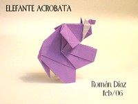 Origami Elephant - acrobatic by Roman Diaz on giladorigami.com