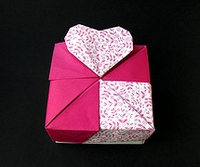 Origami Square Box Heart by Tomoko Fuse on giladorigami.com