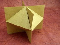 Origami Honeycomb octahedron in coordinate system by Jun Maekawa on giladorigami.com