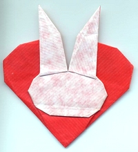 Origami Rabbit head on heart by Michel Grand on giladorigami.com