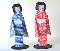 Origami Woman wearing kimono by Kunihiko Kasahara on giladorigami.com