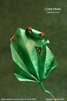 Origami Frog on leaf (Climb Peaks) by Sebastien Limet (Sebl) on giladorigami.com