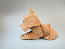 Origami Scottie dog - reclining by Neal Elias on giladorigami.com