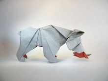 Origami Bear with fish by Patricio Kunz Tomic on giladorigami.com