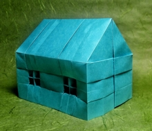 Origami House with windows by Clifford Jones on giladorigami.com