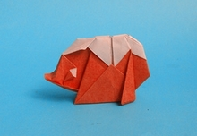 Origami Hedgehog by Lee In Kyung (Whitepaper) on giladorigami.com