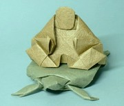 Origami Buddha on turtle by Neal Elias on giladorigami.com