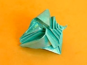 Origami Shell - spiral - 4 openings by Toshikazu Kawasaki on giladorigami.com