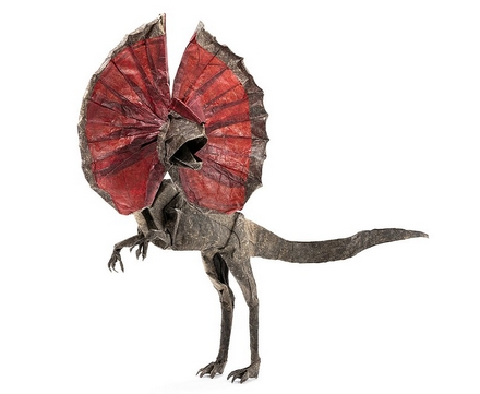 Origami Dilophosaurus by Juan Francisco Carrillo on giladorigami.com