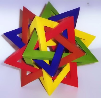 Origami 5 intersecting tetrahedra by Thomas Hull folded by Gilad Aharoni